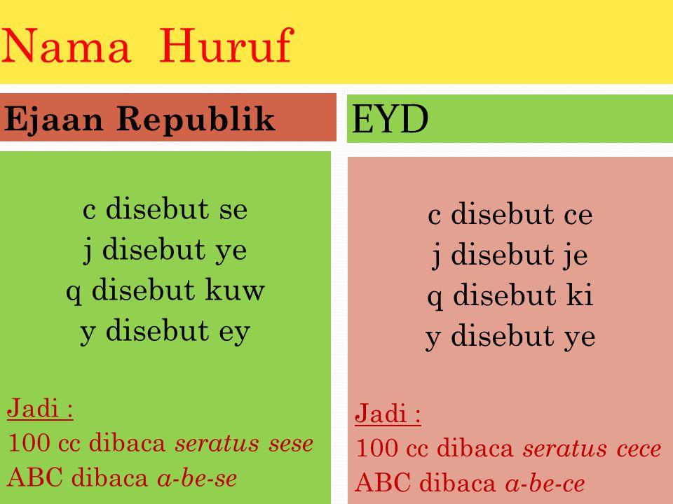 Nama Huruf EYD Ejaan Republik c disebut se c disebut ce j disebut ye