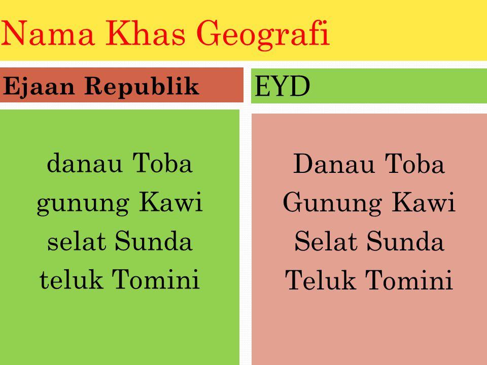 Nama Khas Geografi EYD danau Toba gunung Kawi selat Sunda teluk Tomini