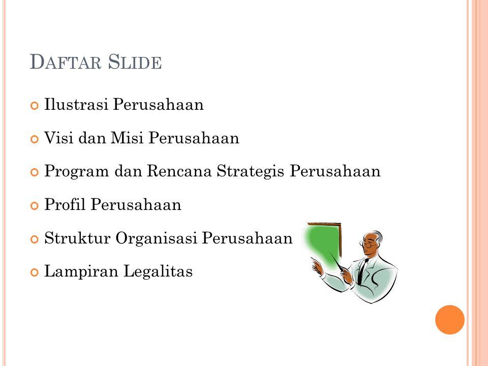 Daftar Slide Ilustrasi Perusahaan Visi dan Misi Perusahaan