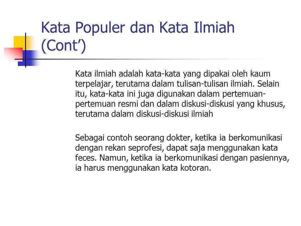 Kata Populer dan Kata Ilmiah (Cont')