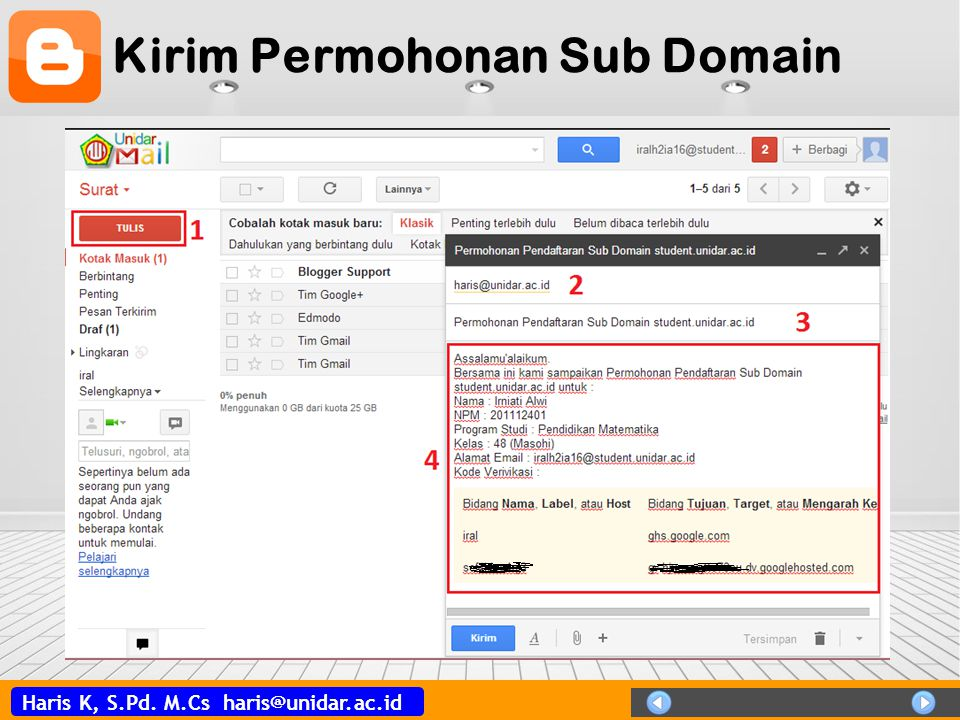 Kirim Permohonan Sub Domain