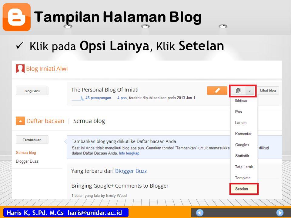 Tampilan Halaman Blog Klik pada Opsi Lainya, Klik Setelan