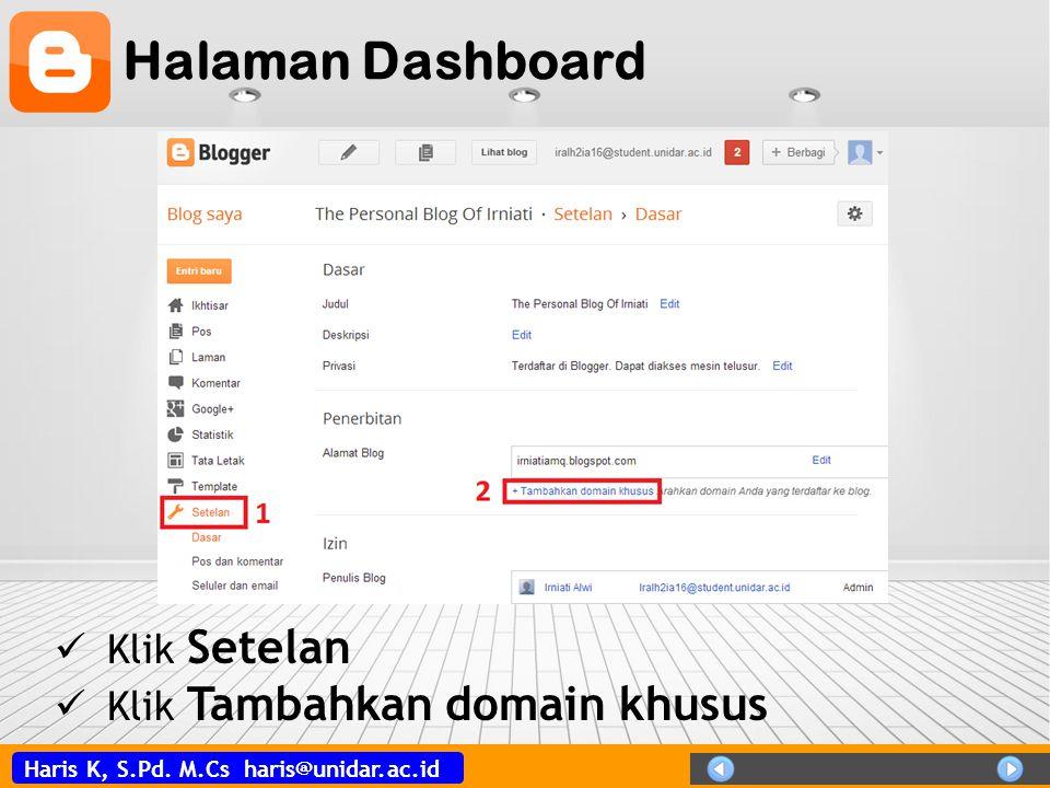 Halaman Dashboard Klik Setelan Klik Tambahkan domain khusus