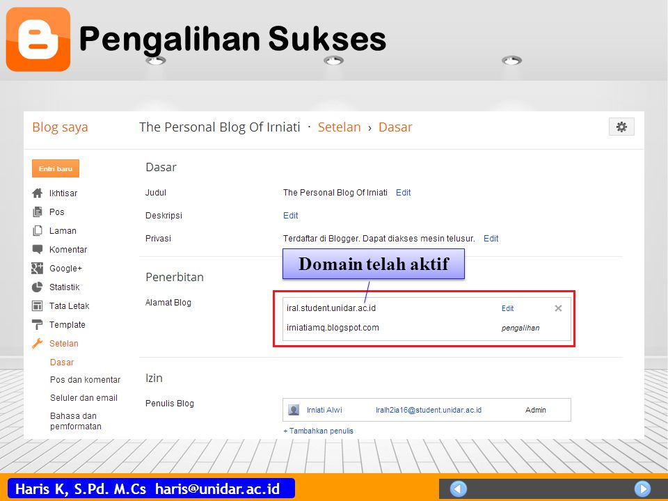 Pengalihan Sukses Domain telah aktif