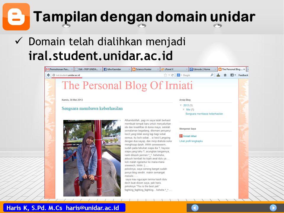 Tampilan dengan domain unidar