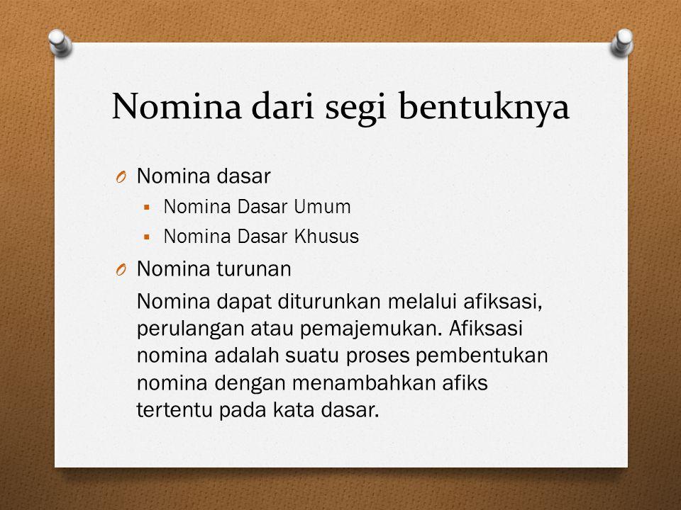 Nomina dari segi bentuknya
