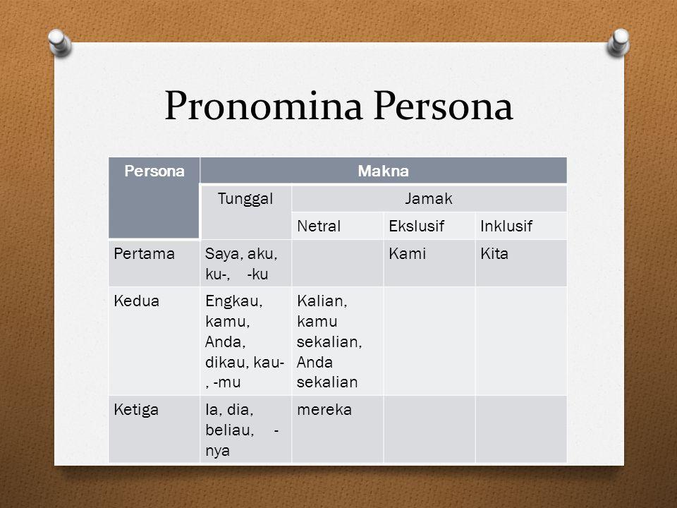 Pronomina Persona Persona Makna Tunggal Jamak Netral Ekslusif Inklusif
