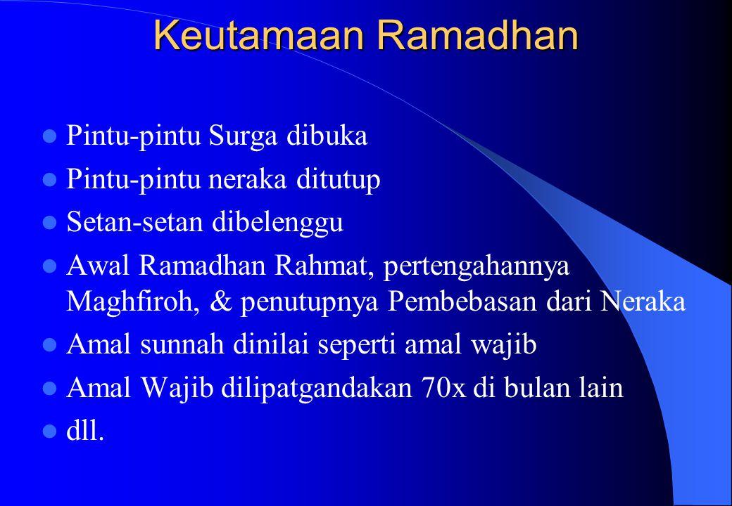 Keutamaan Ramadhan Pintu-pintu Surga dibuka Pintu-pintu neraka ditutup