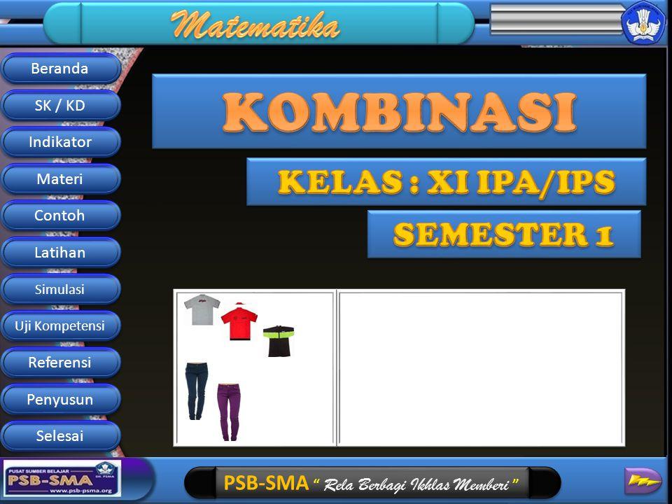 KOMBINASI KELAS : XI IPA/IPS SEMESTER 1 Beranda SK / KD Indikator