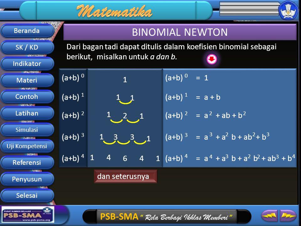 Beranda BINOMIAL NEWTON. SK / KD. Dari bagan tadi dapat ditulis dalam koefisien binomial sebagai berikut, misalkan untuk a dan b.
