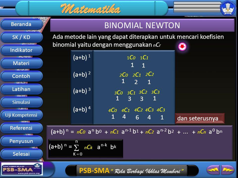 Beranda BINOMIAL NEWTON. SK / KD. Ada metode lain yang dapat diterapkan untuk mencari koefisien binomial yaitu dengan menggunakan nCr.