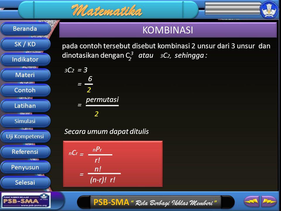 Beranda KOMBINASI. SK / KD. pada contoh tersebut disebut kombinasi 2 unsur dari 3 unsur dan dinotasikan dengan C atau 3C2, sehingga :