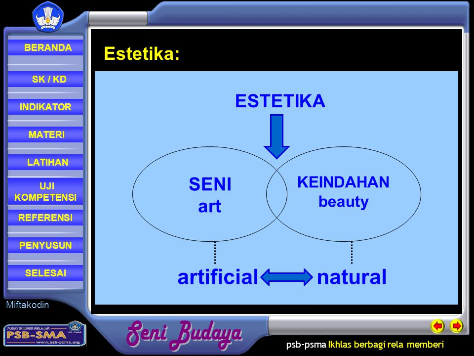 Estetika: SENI art KEINDAHAN beauty ESTETIKA artificial natural