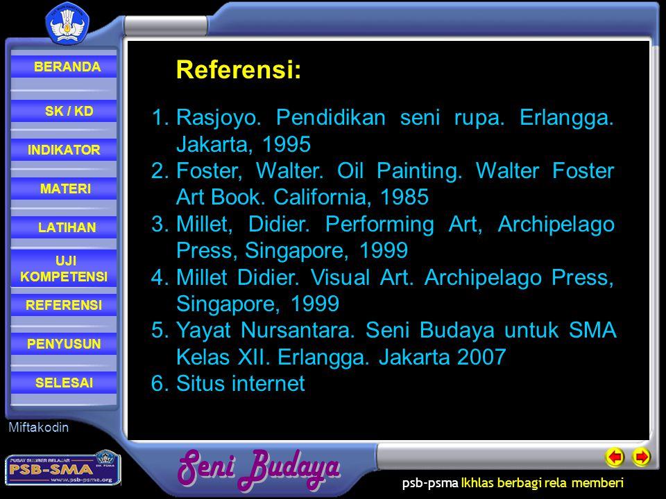 Referensi: Rasjoyo. Pendidikan seni rupa. Erlangga. Jakarta, 1995