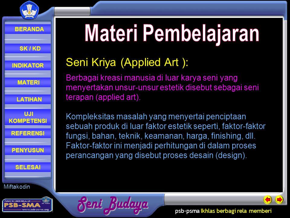 Materi Pembelajaran Seni Kriya (Applied Art ):