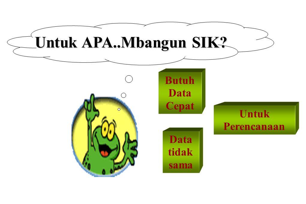 Untuk APA..Mbangun SIK Butuh Data Cepat Untuk Perencanaan Data tidak