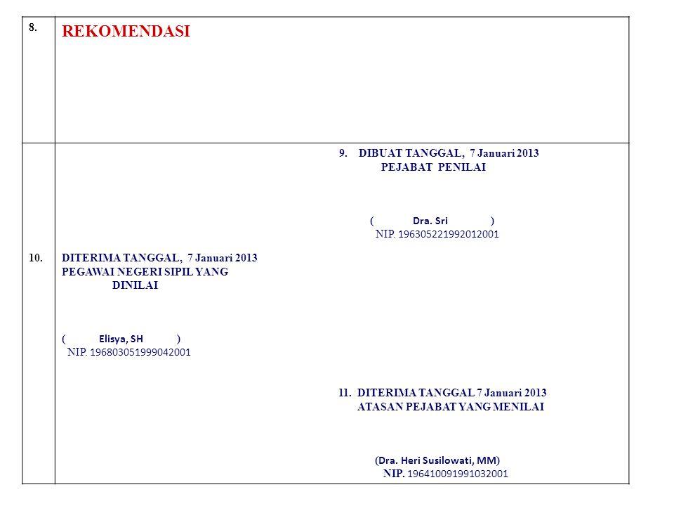 REKOMENDASI 8. 9. DIBUAT TANGGAL, 7 Januari 2013 PEJABAT PENILAI