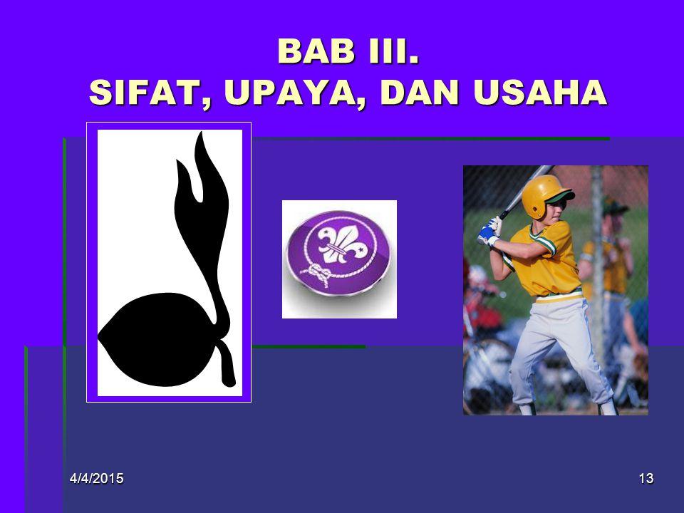 BAB III. SIFAT, UPAYA, DAN USAHA