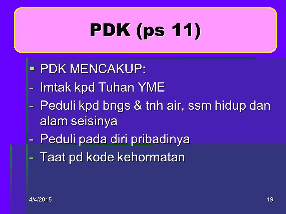 PDK (ps 11) PDK MENCAKUP: Imtak kpd Tuhan YME