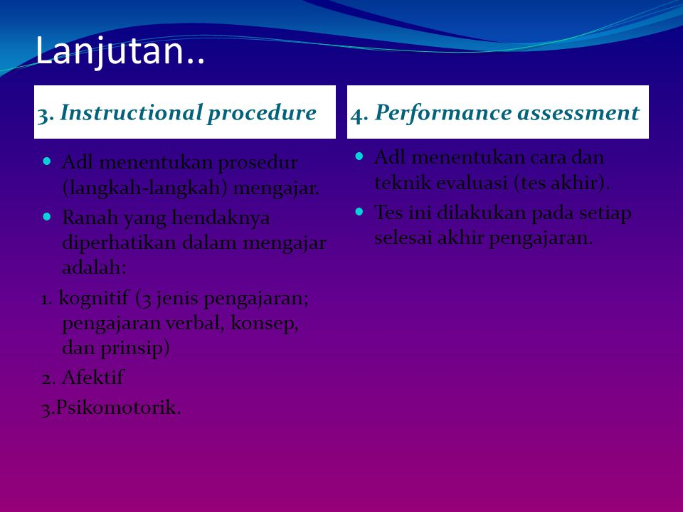 Lanjutan.. 3. Instructional procedure 4. Performance assessment