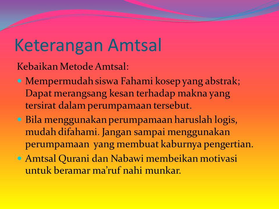 Keterangan Amtsal Kebaikan Metode Amtsal: