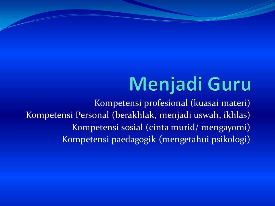 Menjadi Guru Kompetensi profesional (kuasai materi)