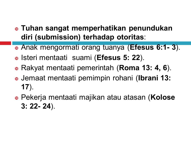 Tuhan sangat memperhatikan penundukan diri (submission) terhadap otoritas: