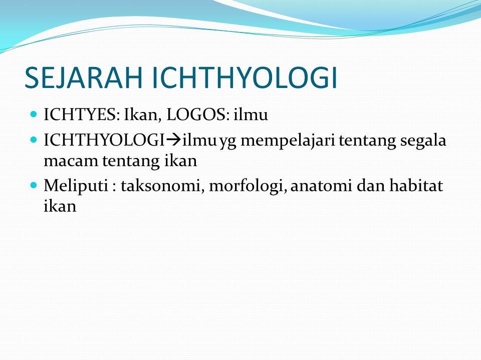 SEJARAH ICHTHYOLOGI ICHTYES: Ikan, LOGOS: ilmu