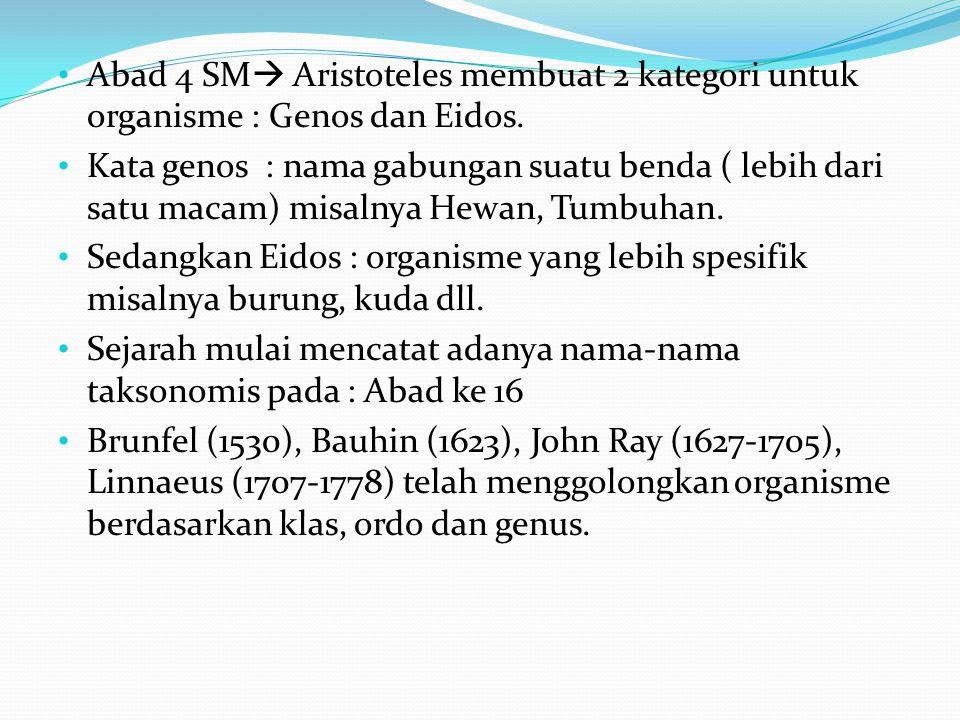 Abad 4 SM Aristoteles membuat 2 kategori untuk organisme : Genos dan Eidos.