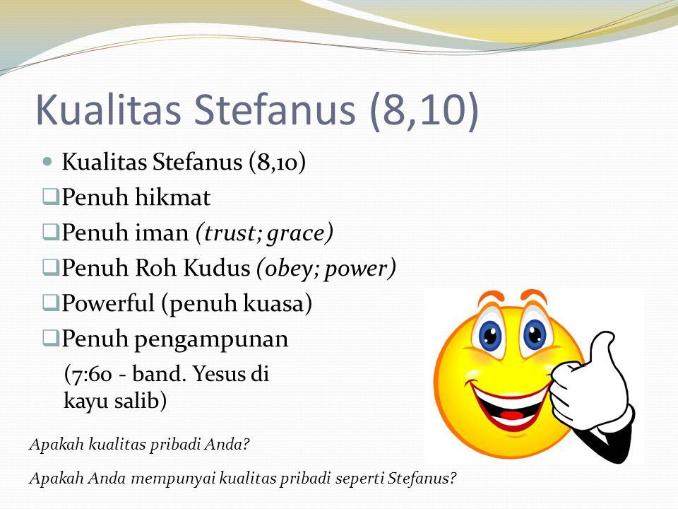 Kualitas Stefanus (8,10) Kualitas Stefanus (8,10) Penuh hikmat
