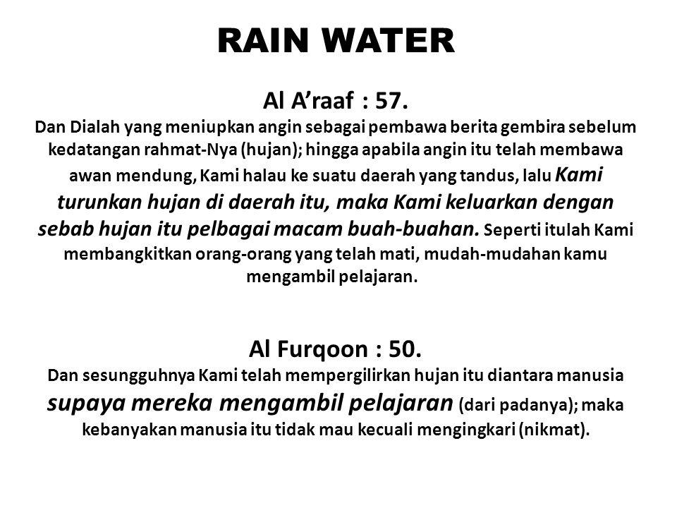 RAIN WATER Al A'raaf : 57. Al Furqoon : 50.