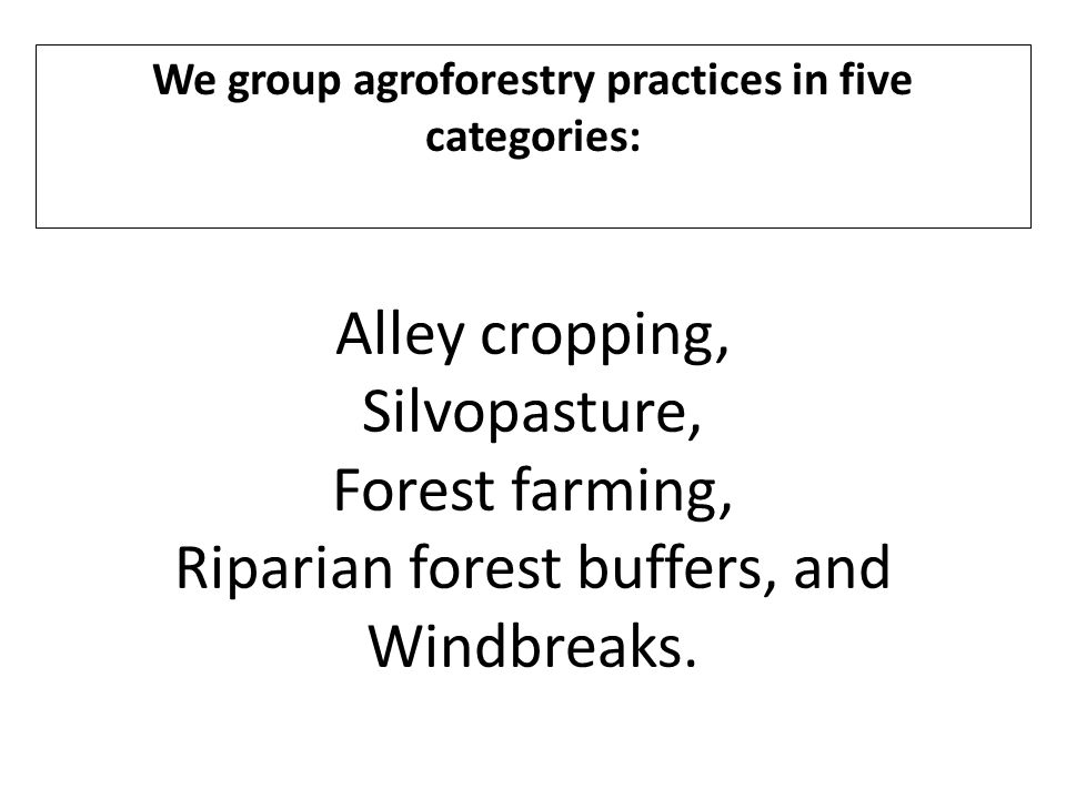 We group agroforestry practices in five categories: