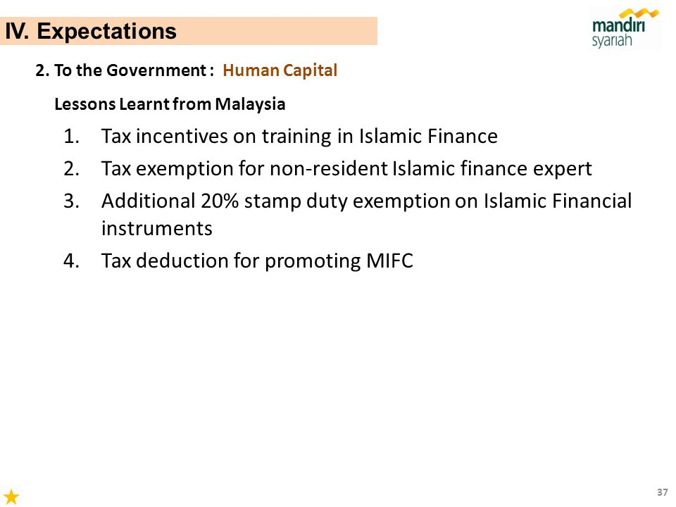 Tax incentives on training in Islamic Finance