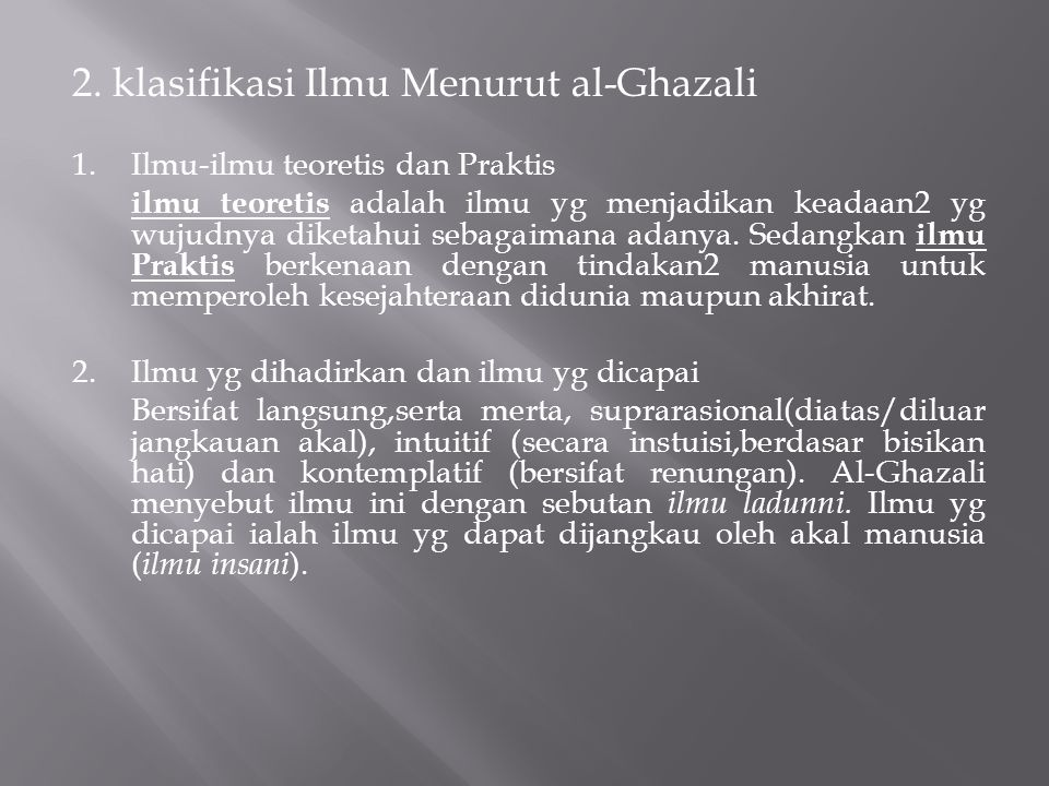 2. klasifikasi Ilmu Menurut al-Ghazali