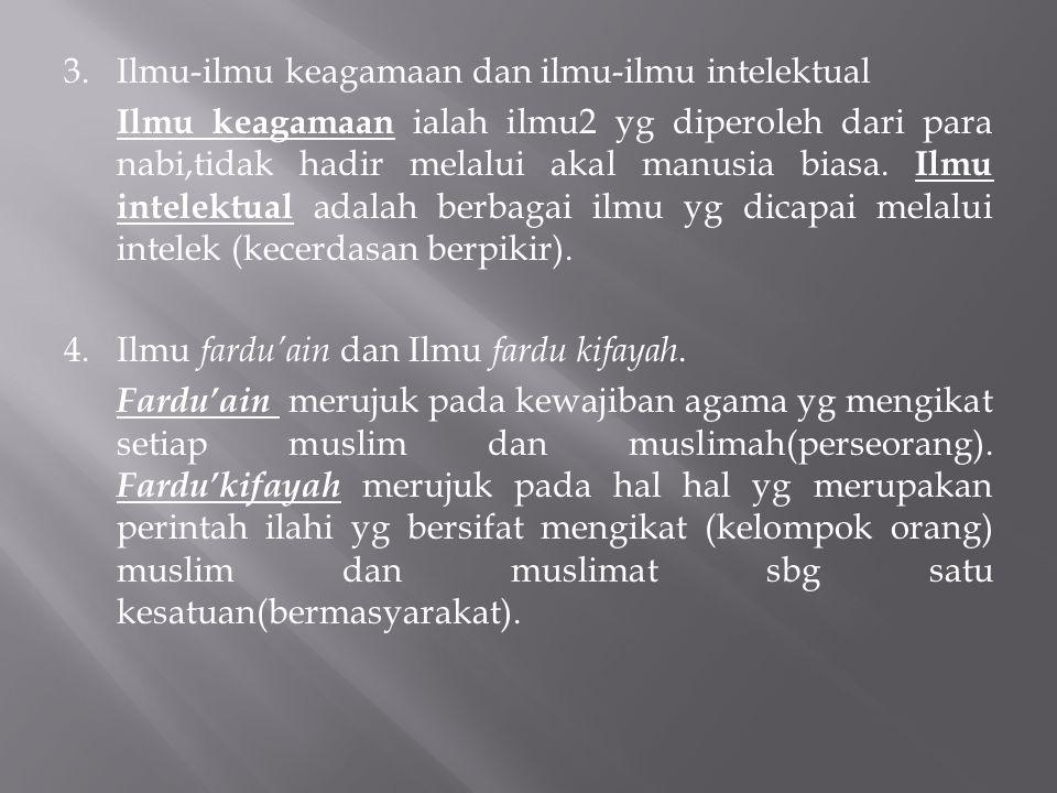 3. Ilmu-ilmu keagamaan dan ilmu-ilmu intelektual