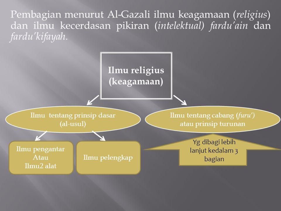 Pembagian menurut Al-Gazali ilmu keagamaan (religius) dan ilmu kecerdasan pikiran (intelektual) fardu'ain dan fardu'kifayah.