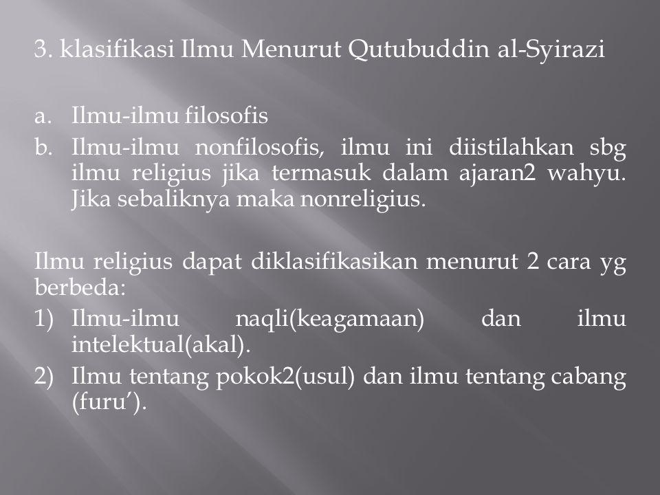 3. klasifikasi Ilmu Menurut Qutubuddin al-Syirazi