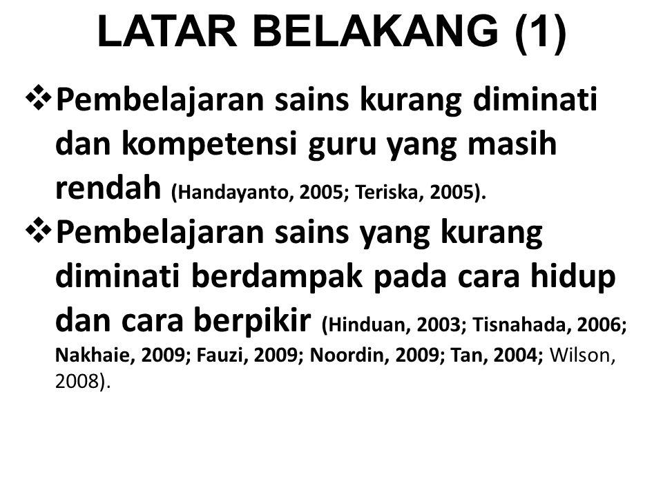 LATAR BELAKANG (1) Pembelajaran sains kurang diminati dan kompetensi guru yang masih rendah (Handayanto, 2005; Teriska, 2005).