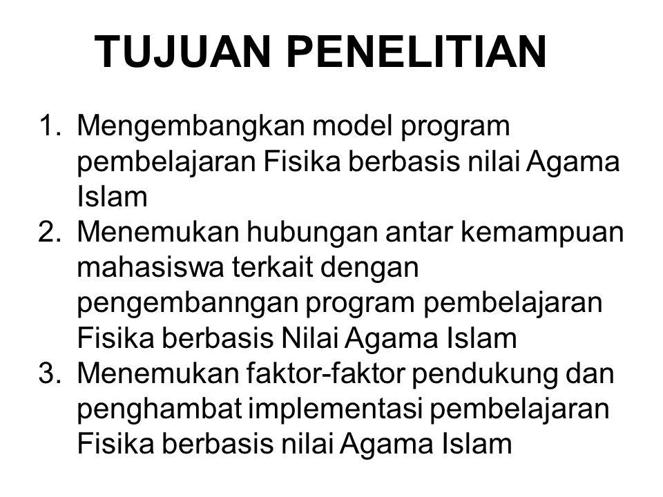 TUJUAN PENELITIAN Mengembangkan model program pembelajaran Fisika berbasis nilai Agama Islam.