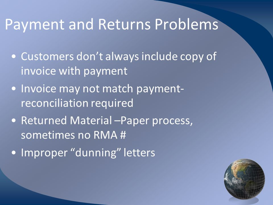 Payment and Returns Problems