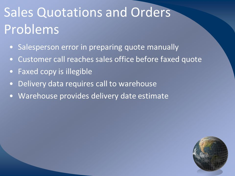 Sales Quotations and Orders Problems