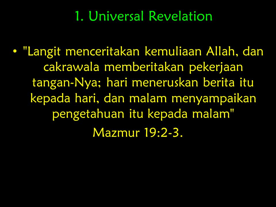 1. Universal Revelation