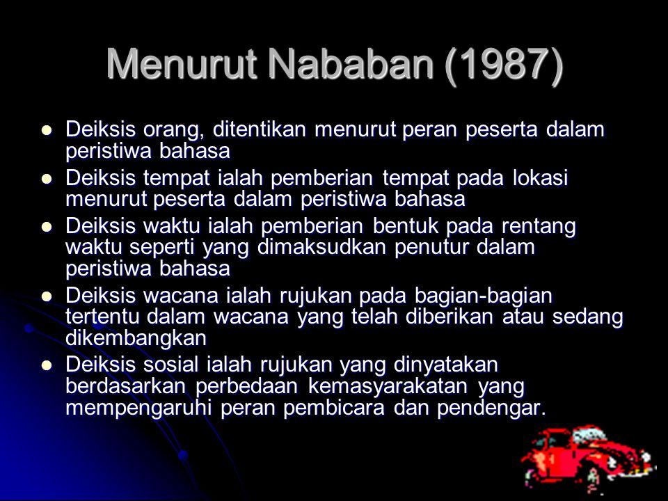 Menurut Nababan (1987) Deiksis orang, ditentikan menurut peran peserta dalam peristiwa bahasa.