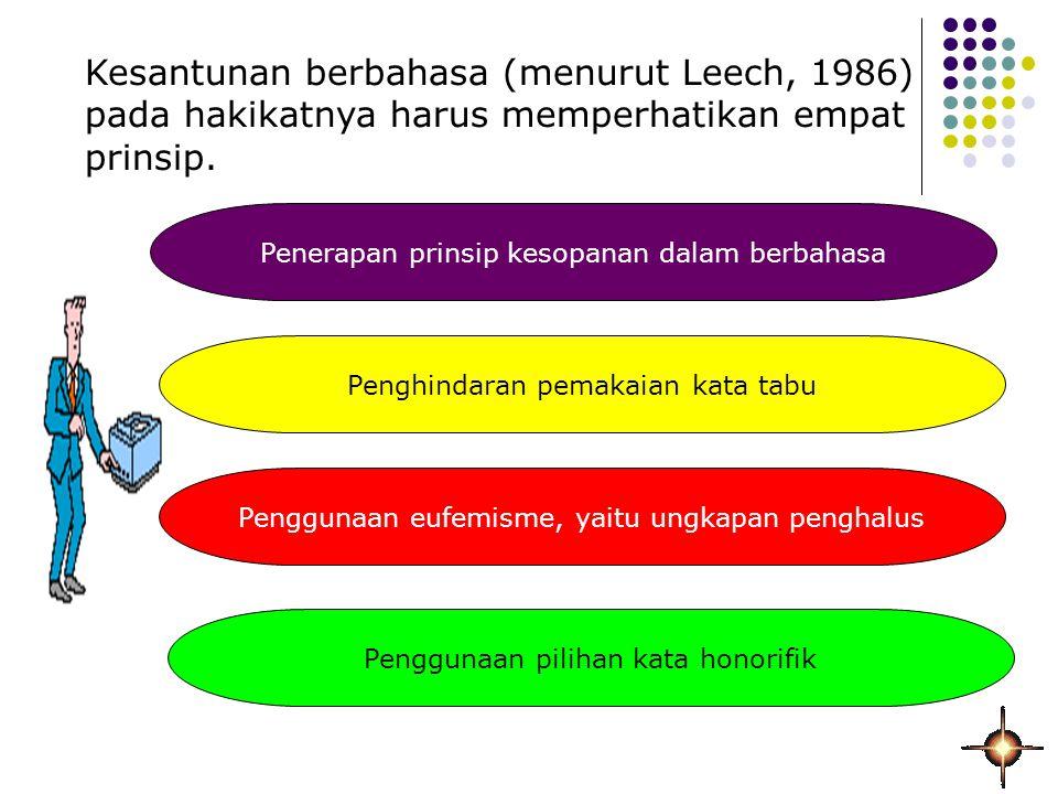 Kesantunan berbahasa (menurut Leech, 1986) pada hakikatnya harus memperhatikan empat prinsip.