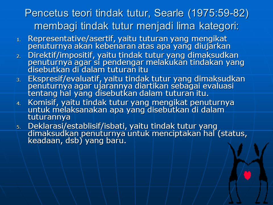 Pencetus teori tindak tutur, Searle (1975:59-82) membagi tindak tutur menjadi lima kategori: