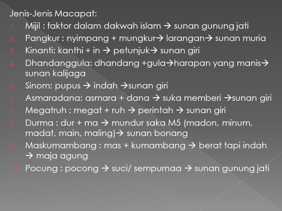 Jenis-Jenis Macapat: Mijil : faktor dalam dakwah islam  sunan gunung jati. Pangkur : nyimpang + mungkur larangan sunan muria.