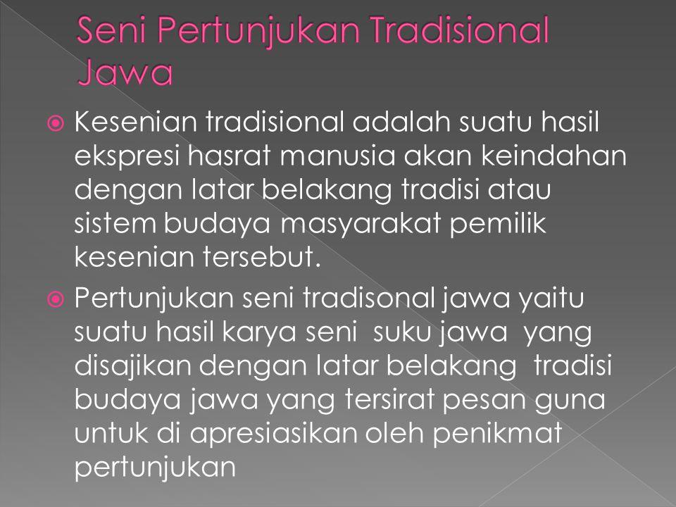 Seni Pertunjukan Tradisional Jawa