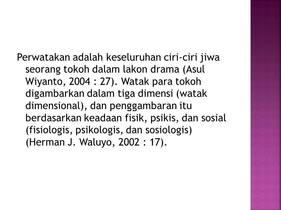 Perwatakan adalah keseluruhan ciri-ciri jiwa seorang tokoh dalam lakon drama (Asul Wiyanto, 2004 : 27).