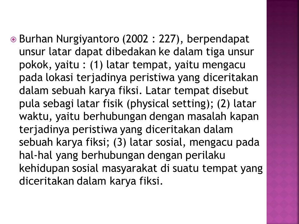 Burhan Nurgiyantoro (2002 : 227), berpendapat unsur latar dapat dibedakan ke dalam tiga unsur pokok, yaitu : (1) latar tempat, yaitu mengacu pada lokasi terjadinya peristiwa yang diceritakan dalam sebuah karya fiksi.