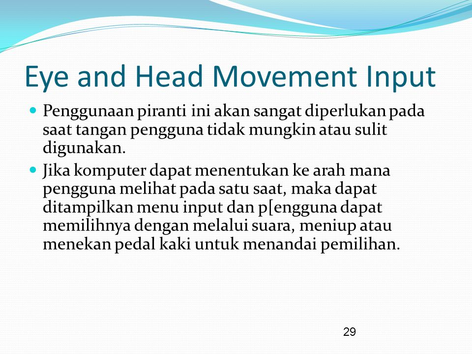 Eye and Head Movement Input